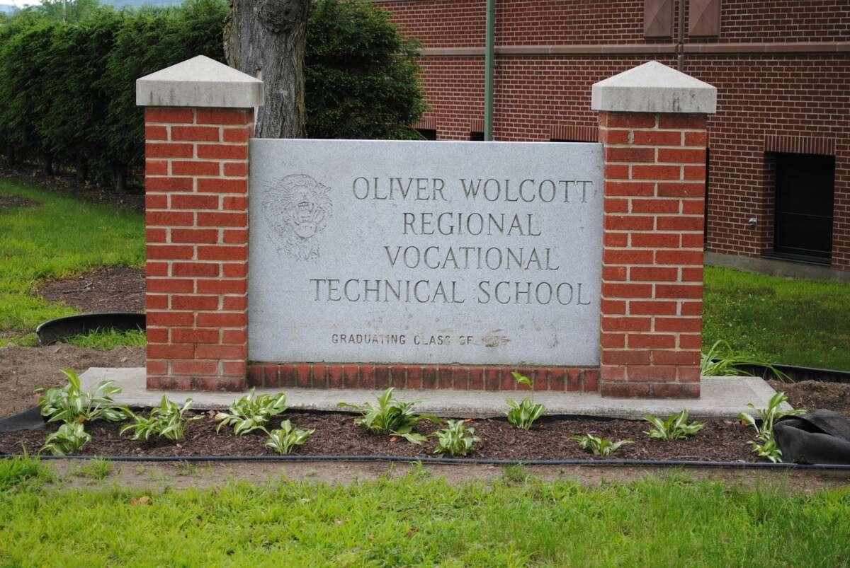 The sign for Oliver Wolcott Regional Technical High School in Torrington, Conn.