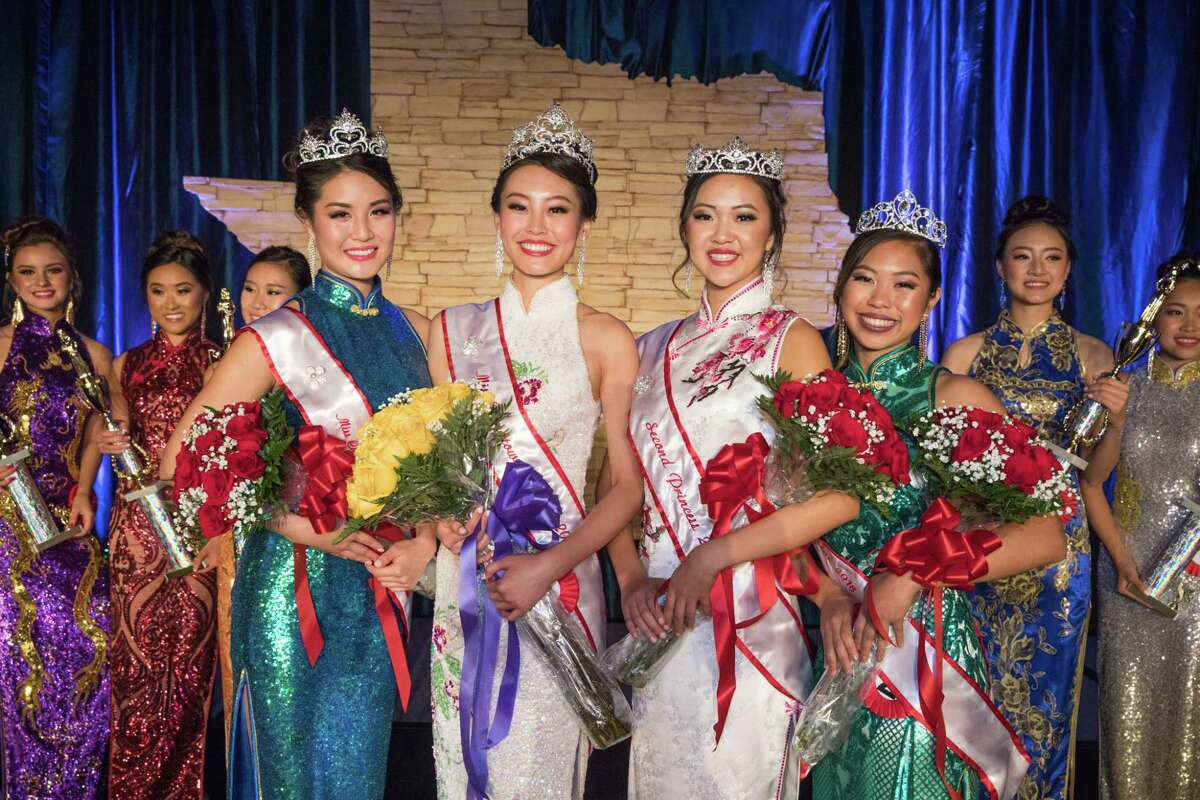 The Miss Chinatown Houston Court, left to right, Heidi Shay, Karen Yen, Carolyn Zhang, and Sara Tin-U during the 48th Annual Miss Chinatown Houston Scholarship Pageant, Saturday, July 21, 2018.