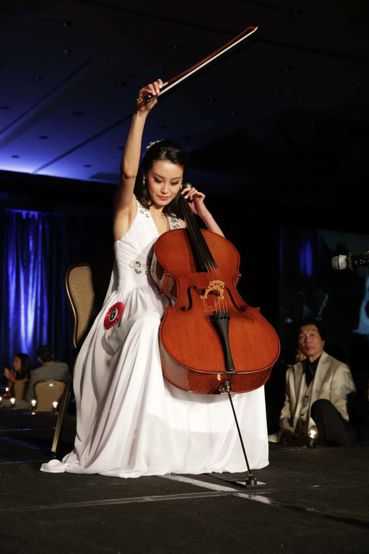 Eventual Miss Chinatown Houston winner Karen Yen performs on the cello during the 48th Annual Miss Chinatown Houston Scholarship Pageant, Saturday, July 21, 2018.