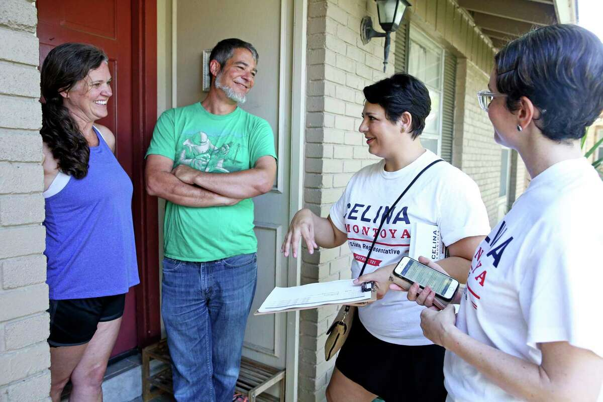In this file photo from July 14, 2018, Celina Montoya (center) talks with Doug Sims and Beth Sims at the front door of their North Side home while campaigning for Texas House District 121 against local attorney Steve Allison. With no prior experience as a candidate and no real campaign infrastructure, she got within 8.4 percentage points of Allison. That's why Montoya decided to give it a second shot against Allison this November.