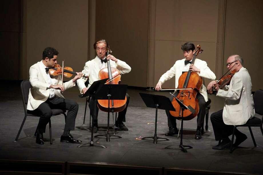Violinist Arnaud Sussmann (left), cellists David Requiro and David Finckel, and violist Paul Neubauer perform Anton Arensky's String Quartet No. 2 at Music@Menlo. Photo: Geoff Sheil
