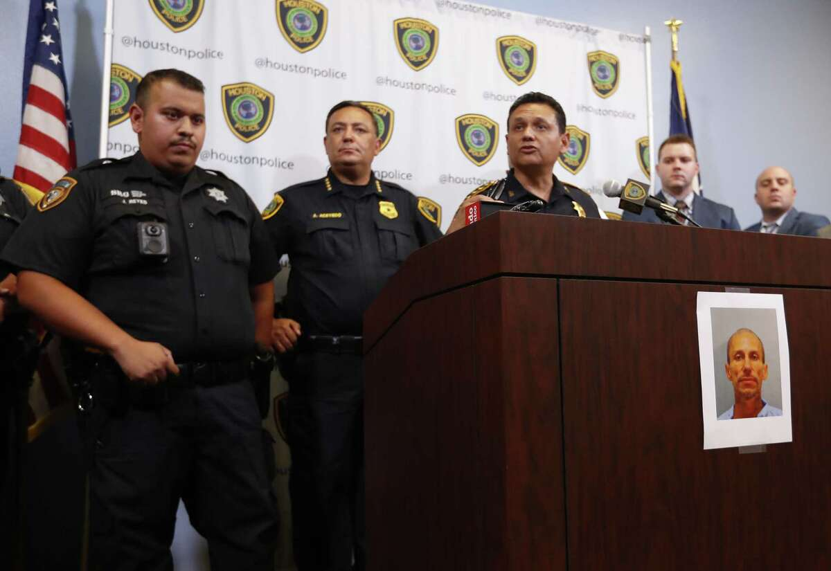 Harris County Sheriff Ed Gonzalez and Houston Police Chief Art Acevedo discuss the arrest and ongoing investigations into suspect Jose Gilberto Rodriguez at the Houston Police Department, Tuesday, July 17, 2018, in Houston. ( Karen Warren / Houston Chronicle )