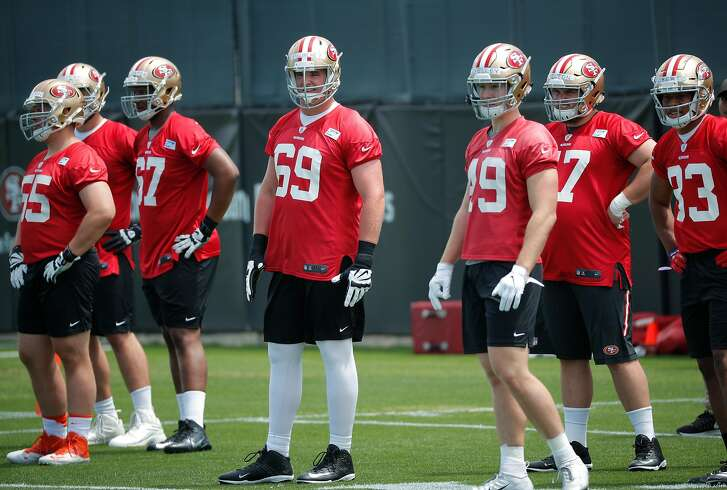 49er rookie Mike McGlinchey, (69) during San Francisco 49ers mini-camp at their practices fields in Santa Clara, Ca. on Fri. May 4, 2018.