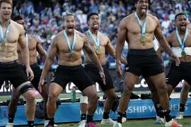 New Zealand's Regan Ware (center back) joins teammates in performing the Haka after defeating England 33-12 during Rugby World Cup Sevens 2018 final match at AT&T Park in San Francisco, Calif. on Sunday, July 22, 2018.