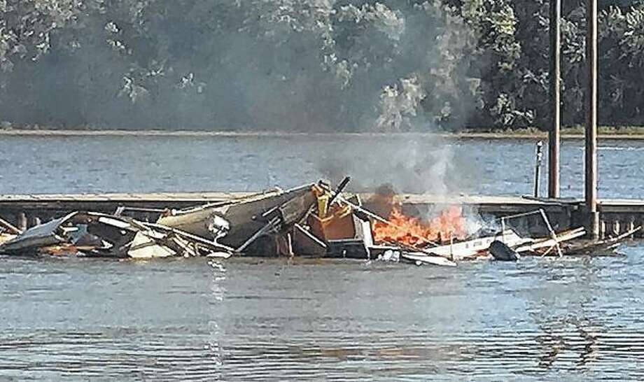 A boat was destroyed after it exploded Saturday in Grafton. The cause of the explosion has not been determined. Photo:       Jill Moon | The Telegraph