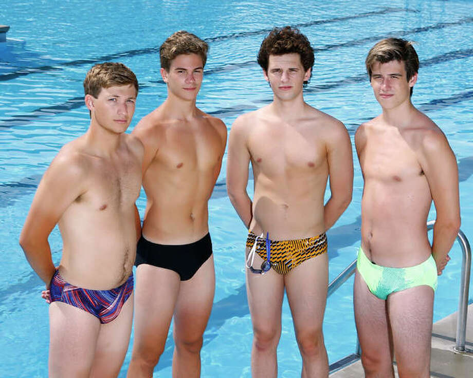 From left, Alton High senior swimmer Cole Akal, sophomore Noah Clancy, senior Matthew Daniel and junior Caden Akal qualified for the IHSA Boys State Meet in seven events, including five individual races and two relays. The four grab honors as The Telegraph Boys Swimmers of the Year. Photo:       Billy Hurst | For The Telegraph