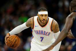MINNEAPOLIS, MN - OCTOBER 27: Carmelo Anthony #7 of the Oklahoma City Thunder dribbles the ball against the Minnesota Timberwolves during the game on October 27, 2017 at the Target Center in Minneapolis, Minnesota. NOTE TO USER: User expressly acknowledges and agrees that, by downloading and or using this Photograph, user is consenting to the terms and conditions of the Getty Images License Agreement. (Photo by Hannah Foslien/Getty Images)