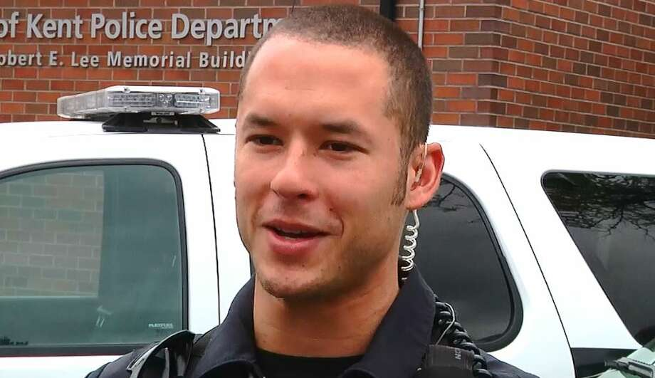 Kent police Officer Diego Moreno was killed early Sunday morning while trying to deploy a spike strip to stop a vehicle connected to a shots fired call at a Shari's restaurant. Another officer chasing after the vehicle in a patrol car hit Moreno before crashing into three other vehicles, reports say. Photo: Courtesy Kent Police Department