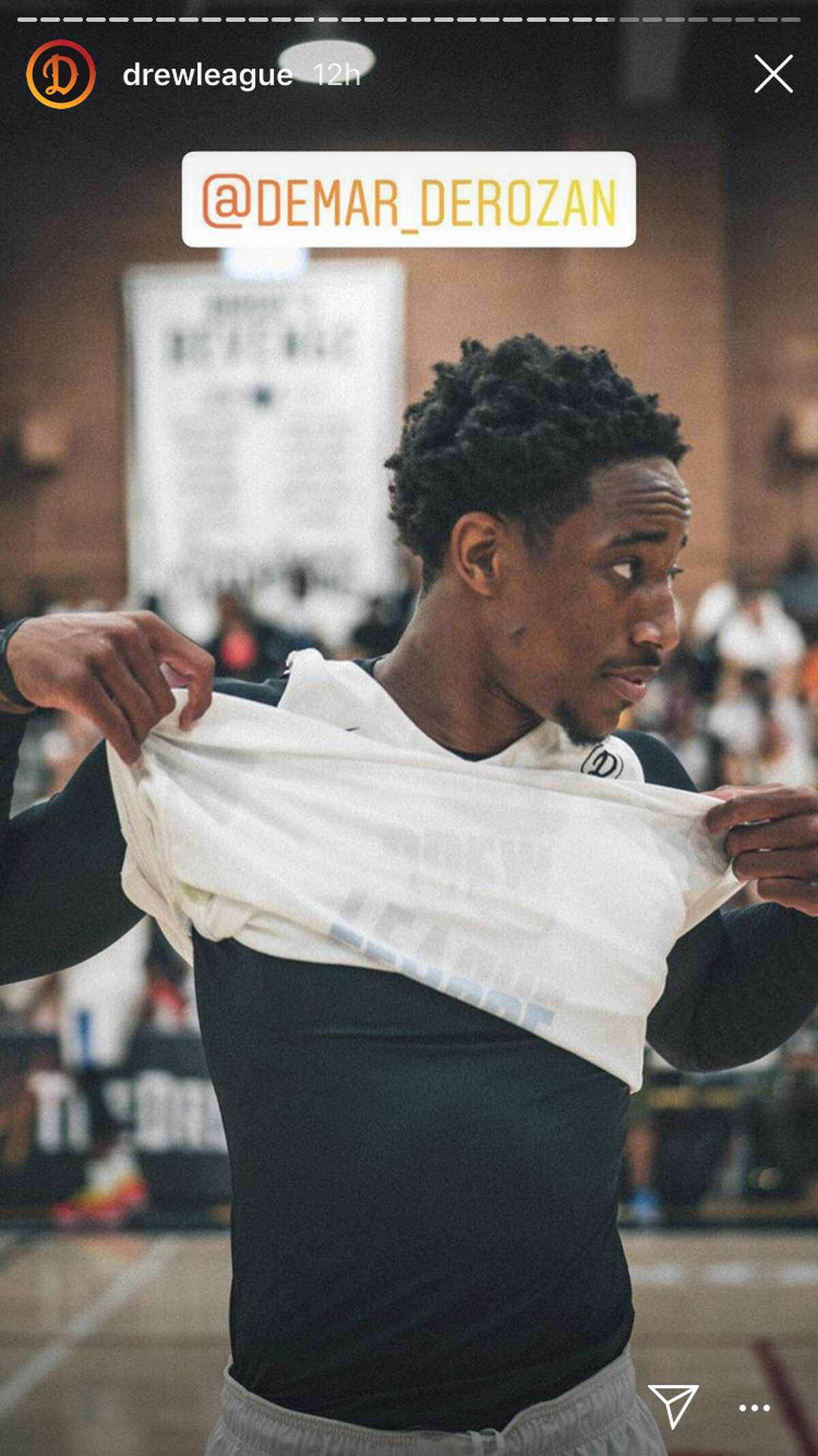Photos posted the Drew League's official Instagram page show DeMar DeRozan participating in the tournament, spending time with Rudy Gay.