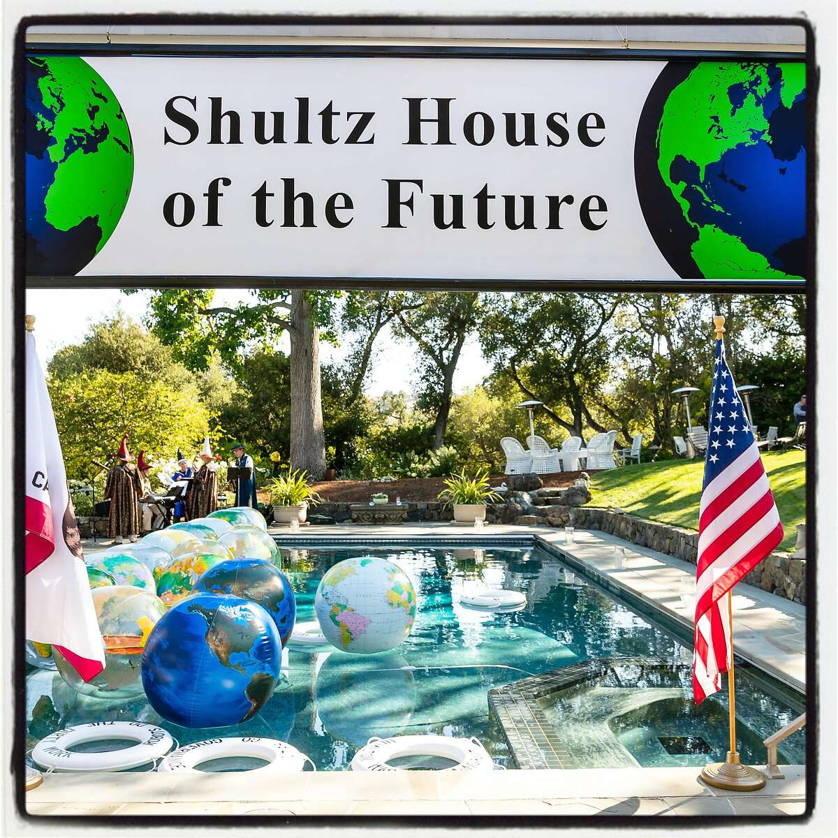 Stanlee Gatti-designs match the Shultz's global Future Summit theme at their Stanford home. July 19, 2018.