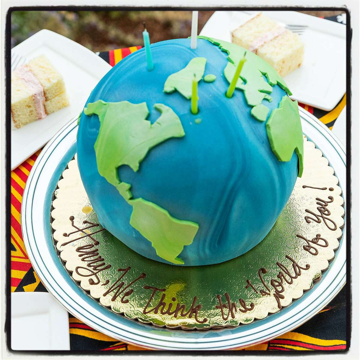 McCall's Catering created a globe-shaped cake to honor the 95th birthday of Henry Kissinger. July 19, 2018.