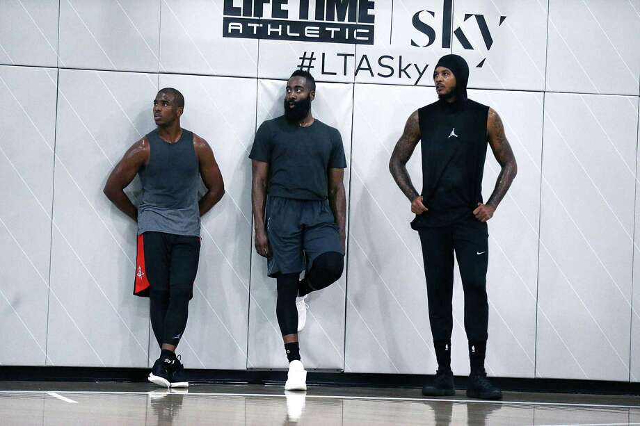 Chris Paul, James Harden and Carmelo Anthony were together in September 2017 at a Black Ops Basketball Session at Life Time Athletic At Sky in New York. Photo: Shareif Ziyadat, Contributor / Getty Images / 2017 Shareif Ziyadat