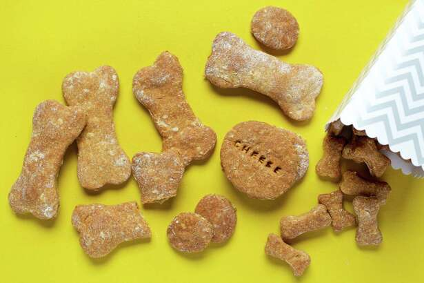 Cheesy and Peanut Butter Dog Biscuits.