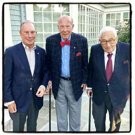 Former NY Mayor Mike Bloomberg (left) with former Secretaries of State George Shultz and Henry Kissinger on July 19, 2018.