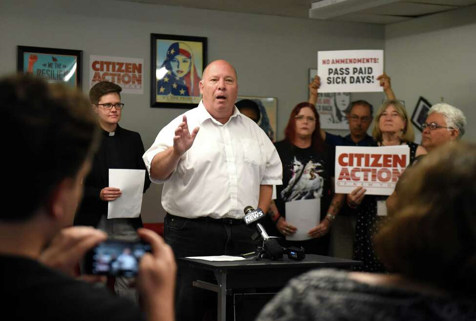 Mark Emanatian of the Capital District Area Labor Federation speaks during a news conference and rally where labor advocates expressed opposition to amendments of a proposed paid sick days law for Albany County, Local Law C, on Monday, July 23, 2018, at Citizen Action of New York in Albany, N.Y. The bill was recently amended to allow businesses with 5 or less employees to offer only unpaid sick days. (Will Waldron/Times Union)