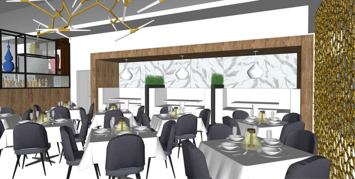 Rendering for Tris, a new restaurant replacing Hubbell & Hudson Bistro in The Woodlands.