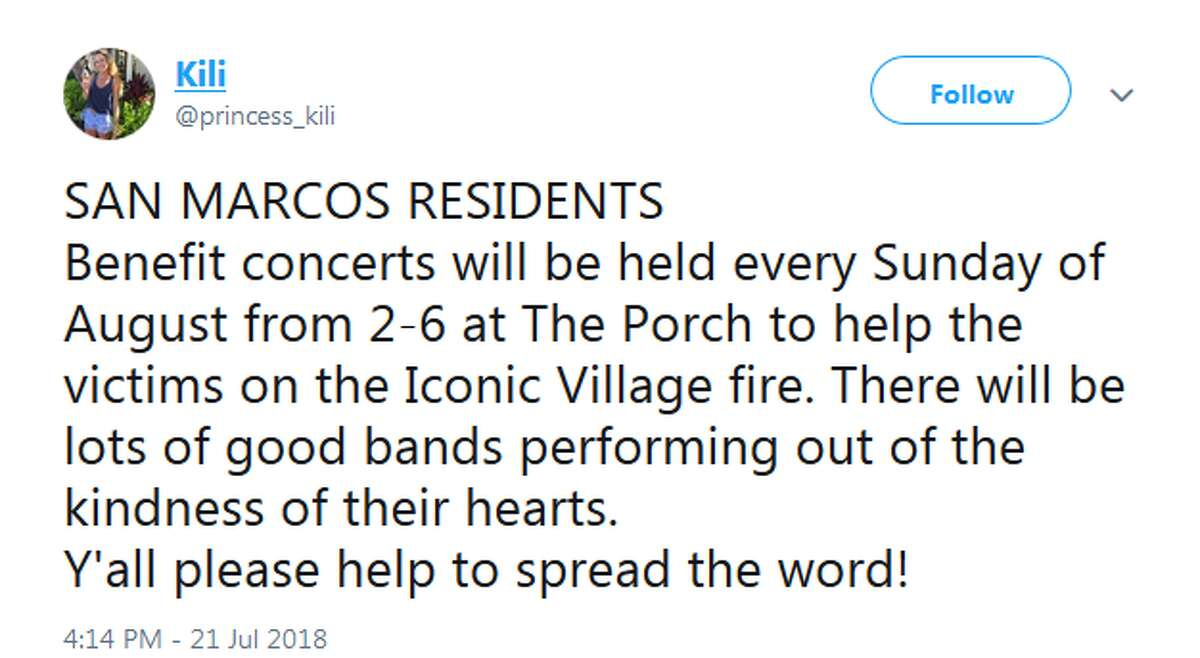 @princess_kili: SAN MARCOS RESIDENTS Benefit concerts will be held every Sunday of August from 2-6 at The Porch to help the victims on the Iconic Village fire. There will be lots of good bands performing out of the kindness of their hearts. Y'all please help to spread the word!