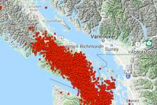 A map of all the tremors the Pacific Northwest Seismic Network has recorded between May 8, 2018 and July 21, 2018.