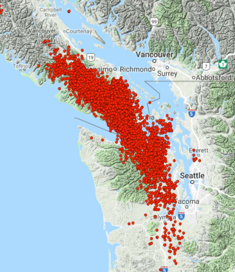 A map of all the tremors the Pacific Northwest Seismic Network has recorded between May 8, 2018 and July 21, 2018. Photo: Pacific Northwest Seismic Network