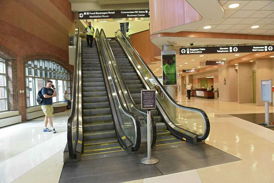 New escalators near the airline ticket counter will be one of the terminal improvements at the Albany International Airport on Monday, July 23, 2018 in Colonie, N.Y. (Lori Van Buren/Times Union) Photo: Lori Van Buren, Albany Times Union / 20044409A