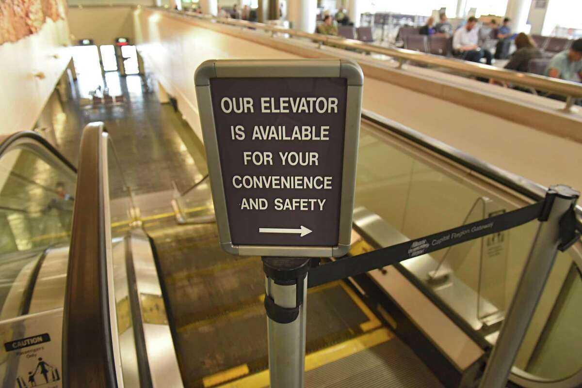 A new escalator near some gates will be one of the terminal improvements at the Albany International Airport on Monday, July 23, 2018 in Colonie, N.Y. (Lori Van Buren/Times Union)