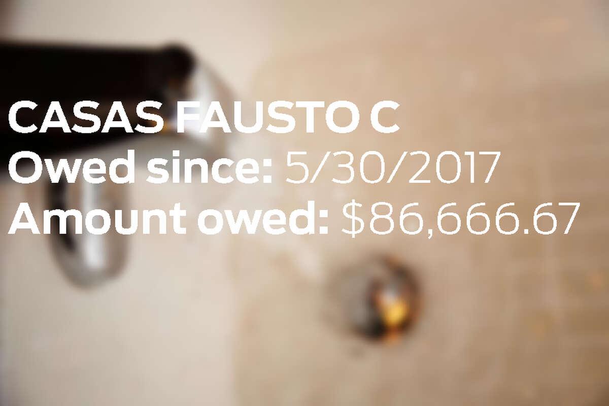 19.CASAS FAUSTO C Owed since: 5/30/2017 Amount owed: $86,666.67