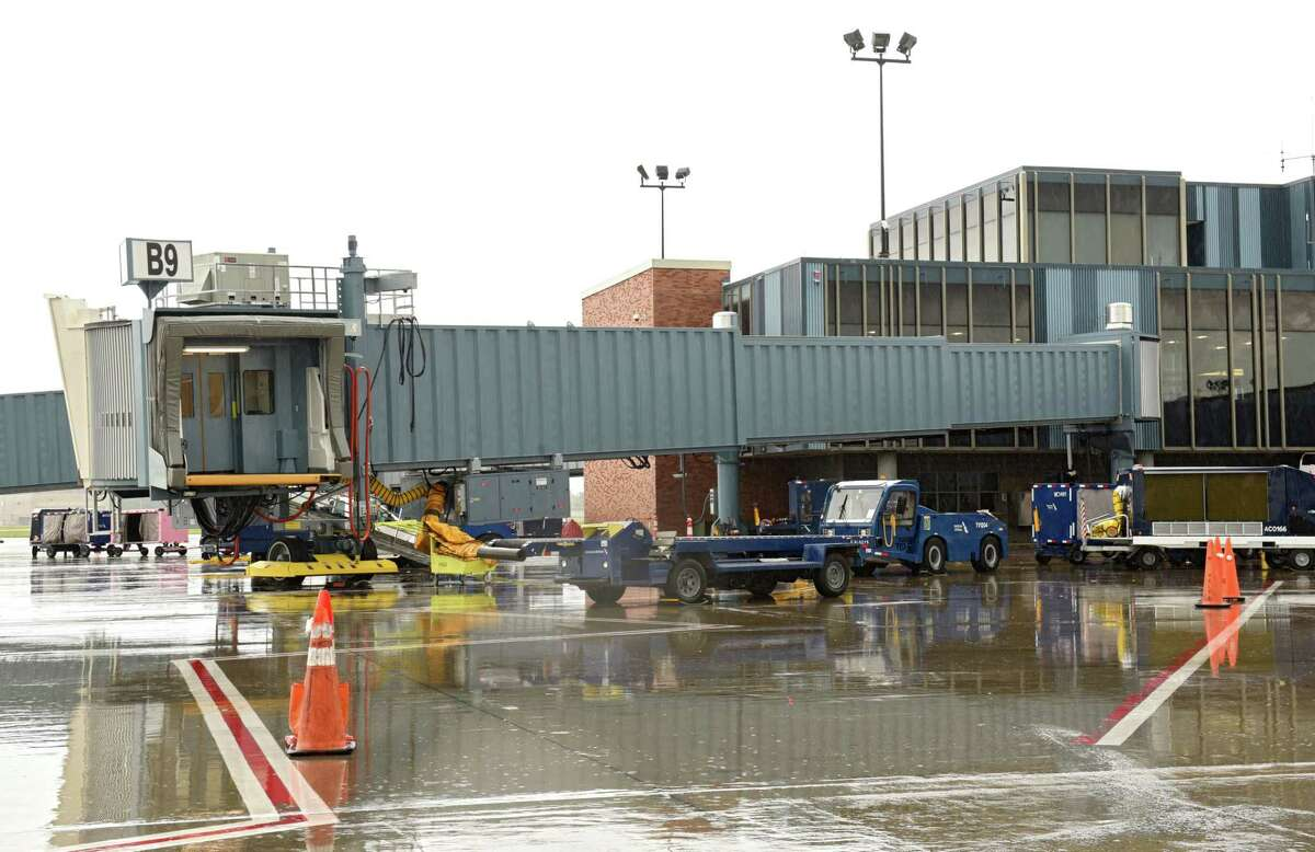 A new boarding bridge is installed at gate B9 at the Albany International Airport on Monday, July 23, 2018 in Colonie, N.Y. (Lori Van Buren/Times Union)