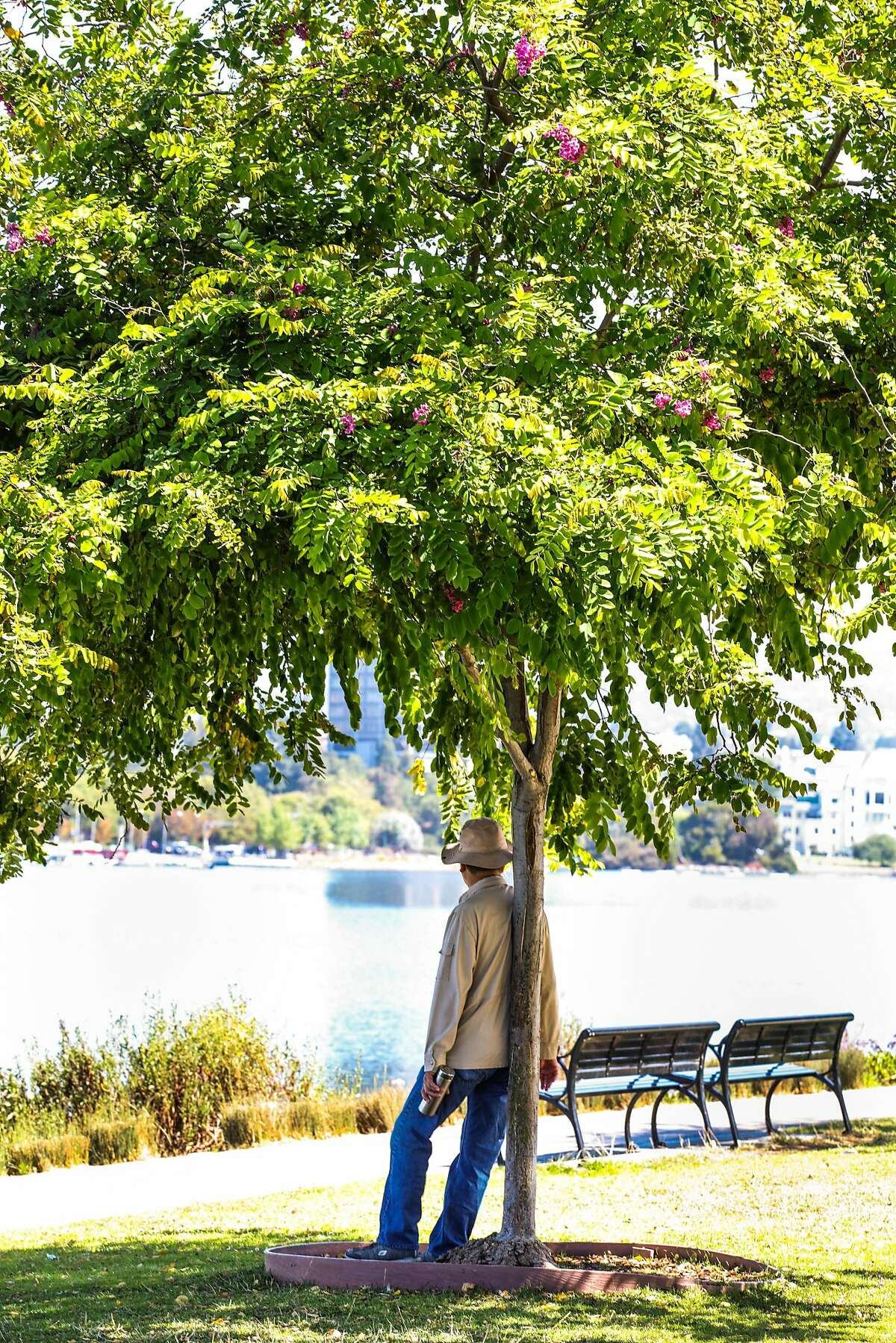 A man takes rest in the shade at Lake Merritt in Oakland, California, on Monday, July 23, 2018.