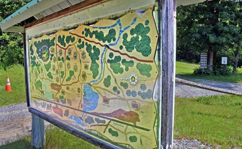 Site map at the entrance to the old boy scout camp of Boy Haven Wednesday July 19, 2017 in Milton, NY. (John Carl D'Annibale/Times Union archive)