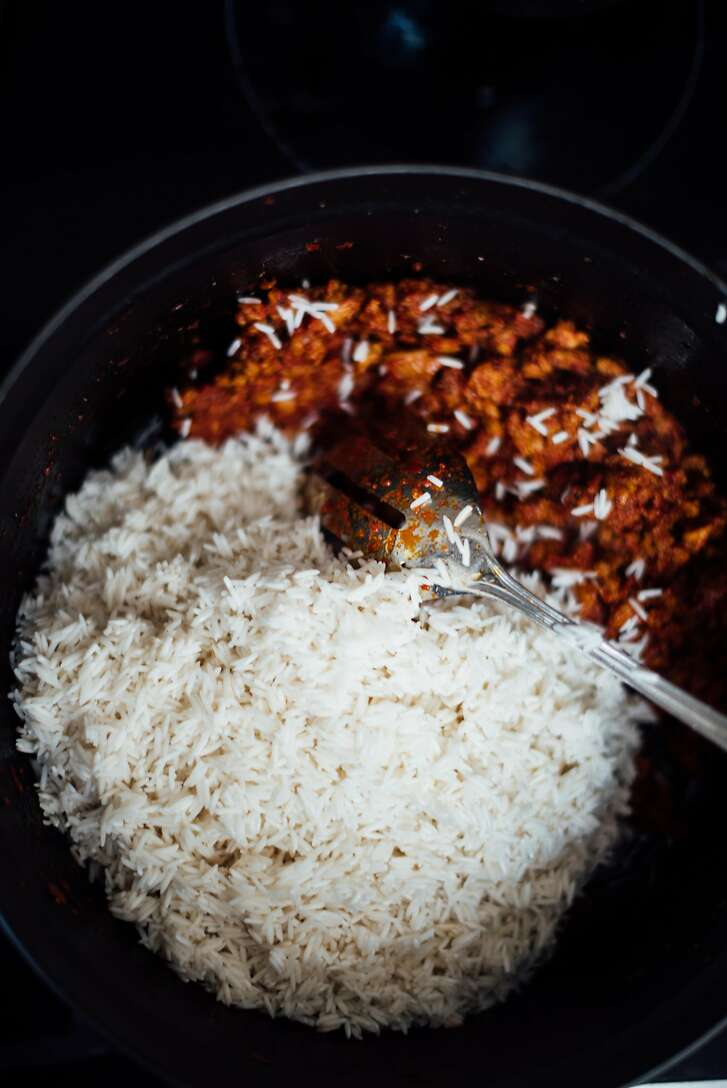 Chorizo shrimp pulao