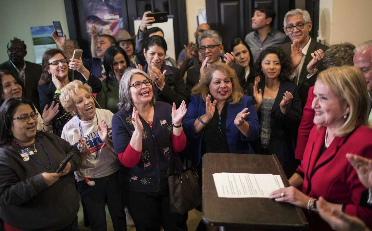 Sylvia Garcia supporters applaud her as she accepts the primary elections victory, Tuesday, March 6, 2018, in Houston. ( Marie D. De Jesus / Houston Chronicle )