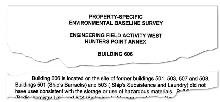 "When the Navy leased Building 606 to the city, the Navy failed to mention that the structure was built on the site of a former ""contaminated laundry"" that had been used to wash radioactive clothing."
