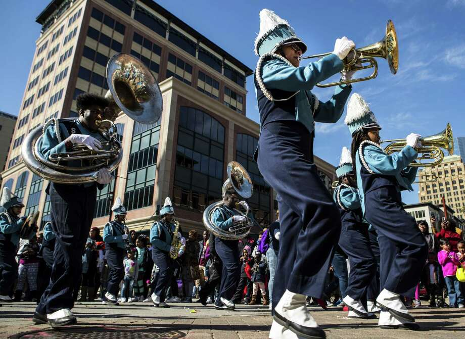 """The """"Original"""" Martin Luther King Jr. Day Parade in 2018.  >>Here's a short history of the the dispute between two organizations and their competing parades honoring the slain civil rights leader... Photo: Brett Coomer, Staff / Houston Chronicle / © 2018 Houston Chronicle"""