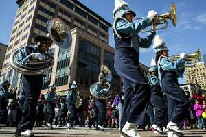 "The Sterling High School band performs as they march during The ""Original"" MLK Parade on Monday, Jan. 15, 2018, in Houston."
