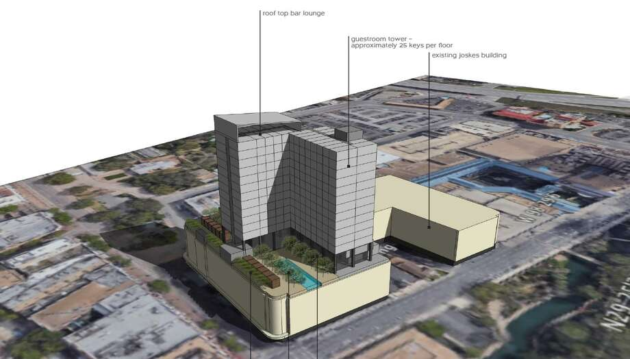 A Dallas developer is drawing up plans for an 18-story Hard Rock Hotel that will loom over Alamo Plaza. Photo: JMJ Development