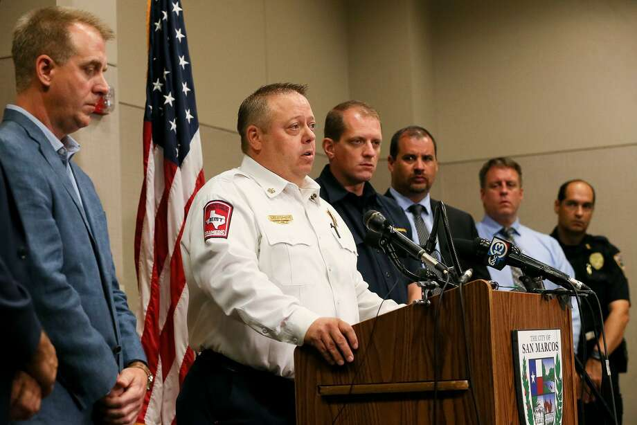 San Marcos Fire Chief  Les Stephens speaks during a press conference about the Iconic Village Apartments fire in San Marcos at the San Marcos Activity Center on Monday, July 23, 2018.  Four victims have been recovered so far from the fire that began at 4:30 a.m. and affected three apartment buildings near Texas State University on Friday, July, 20.  Five people are still unaccounted for.  Officials do not yet know the origin of the fire, how it started. or what the total number of victims will be. Photo: Marvin Pfeiffer, Staff / San Antonio Express-News / Express-News 2018