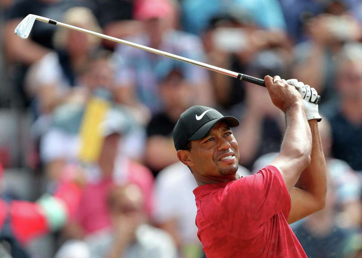 Tiger Woods tees off the third hole during day four of The Open Championship 2018 at Carnoustie Golf Links on Sunday.