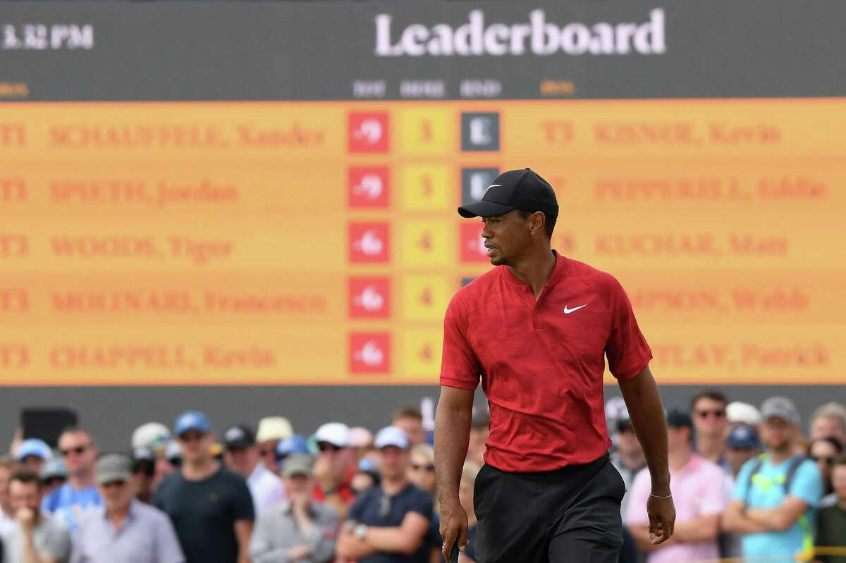 Tiger Woods of the United States reacts to a putt on the fifth green during the final round of the 147th Open Championship at Carnoustie Golf Club on July 22, 2018.