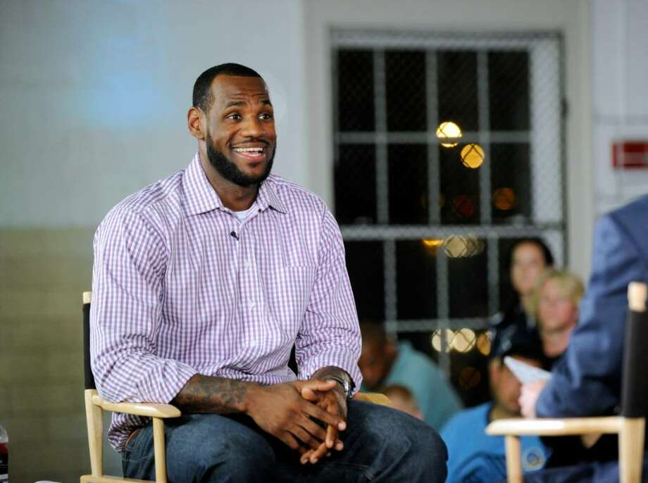 Basketball superstar LeBron James just prior to announcing that he will play for the Miami Heat next year during a press conference at the Boys & Girls Club of Greenwich, Thursday evening, July 8, 2010, Photo: Bob Luckey / Greenwich Time