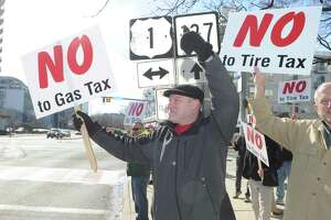 State political candidates attended a Stamford protest earlier this year against proposed highway tolls, increasing gasoline taxes and a new tax on tire sales.