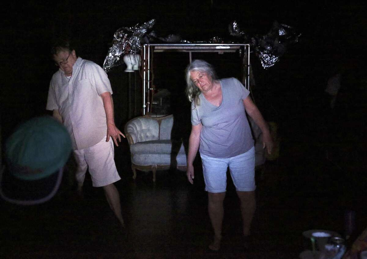 Chuck Squier and Kim Corbin stagger a bit in their roles as ghosts in