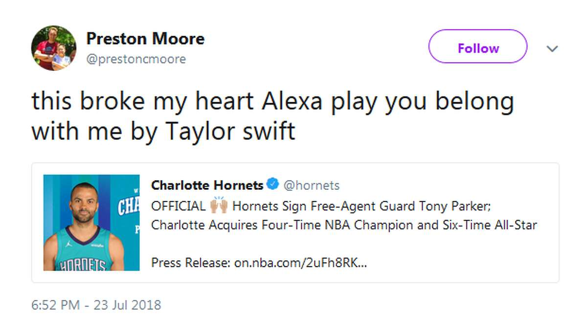 @prestoncmoore: this broke my heart Alexa play you belong with me by Taylor swift
