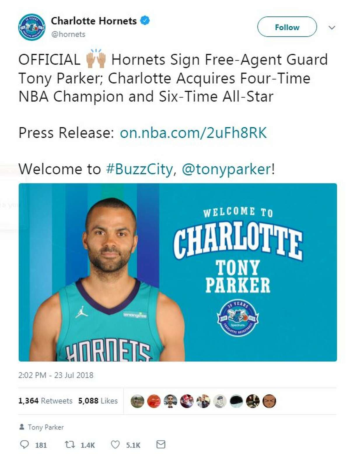 The Charlotte Hornets officially signed Tony Parker, who played for 17 seasons with the San Antonio Spurs.