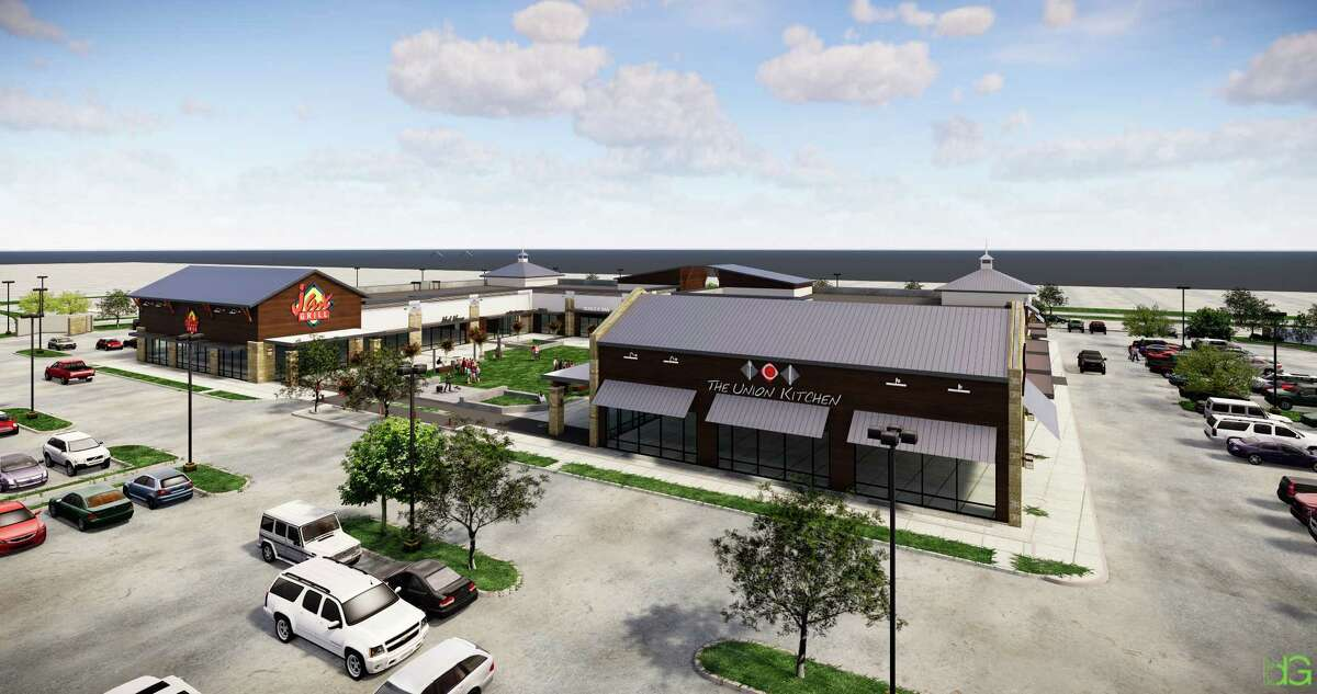 The Union Kitchen and Jax Grill, both concepts from Gr8 Plate Hospitality, plan to open in Katy in early 2019. Shown: rendering of the adjacent restaurants at Stableside at Falcon Landing.
