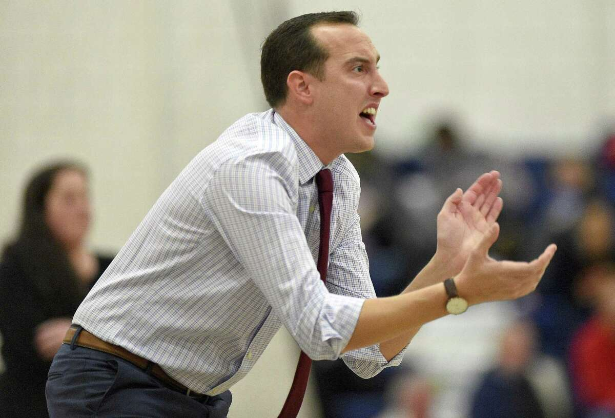 Wilton coach Rob Coloney reacts to his players' performance against Stamford in a Dec. 28 game.