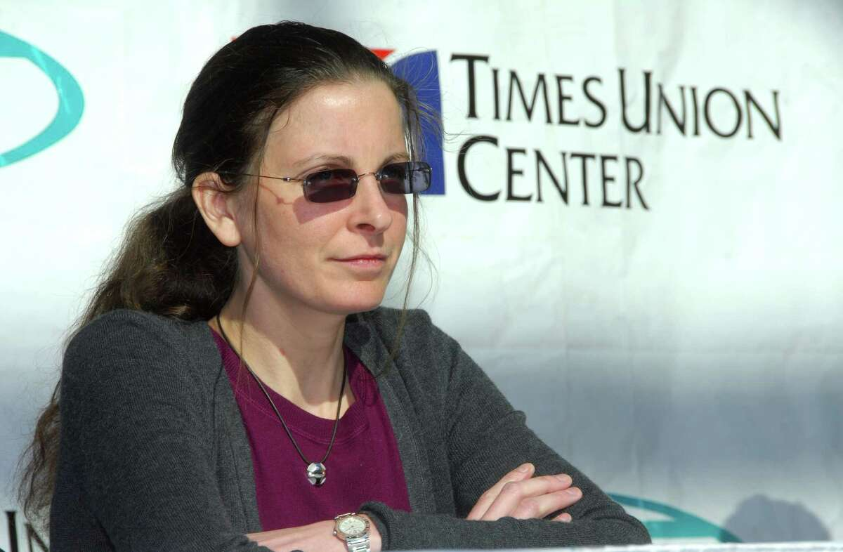 Clare Bronfman speaks at a news conference to discuss the schedule of events for the Dalai Lama's upcoming visit to Albany on Tuesday, March 17, 2009, at the Times Union Center in Albany, N.Y. (John Carl D'Annibale/Times Union)