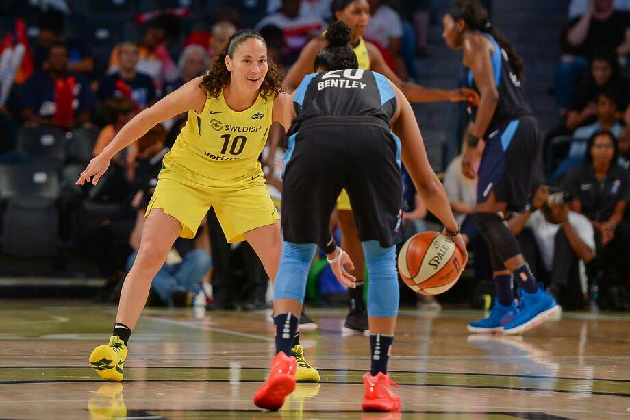 ATLANTA, GA  JULY 22:  Seattle's Sue Bird (10) defends Atlanta's Alex Bentley (20) during the WNBA game between Atlanta and Seattle on July 22, 2018 at Hank McCamish Pavilion in Atlanta, GA. The Atlanta Dream defeated the Seattle Storm by a score of 87  74.  (Photo by Rich von Biberstein/Icon Sportswire via Getty Images) Photo: Icon Sportswire/Icon Sportswire Via Getty Images