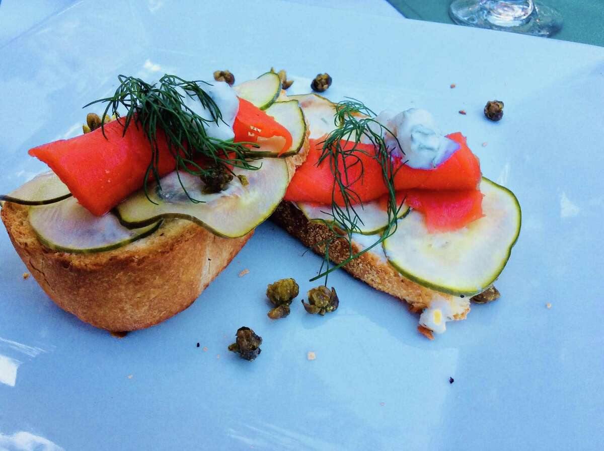 Smoked Salmon with Pickled Cucumber, Crispy Capers, Jicama, and Dill Sauce was the appetizer at the cooking class.