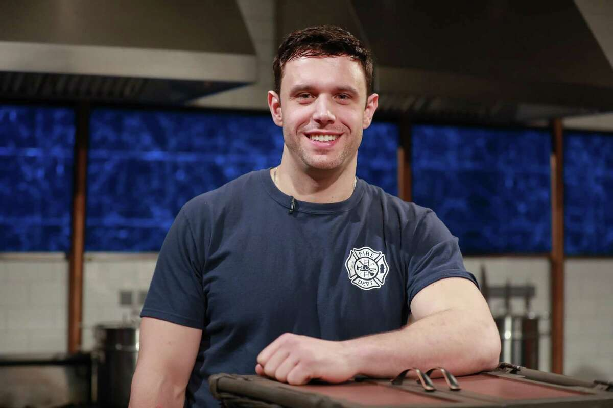 """Daniel Brelsford, a Bridgeport firefighter and chef at Consiglio's in New Haven, on the set of Food Network's """"Chopped."""""""
