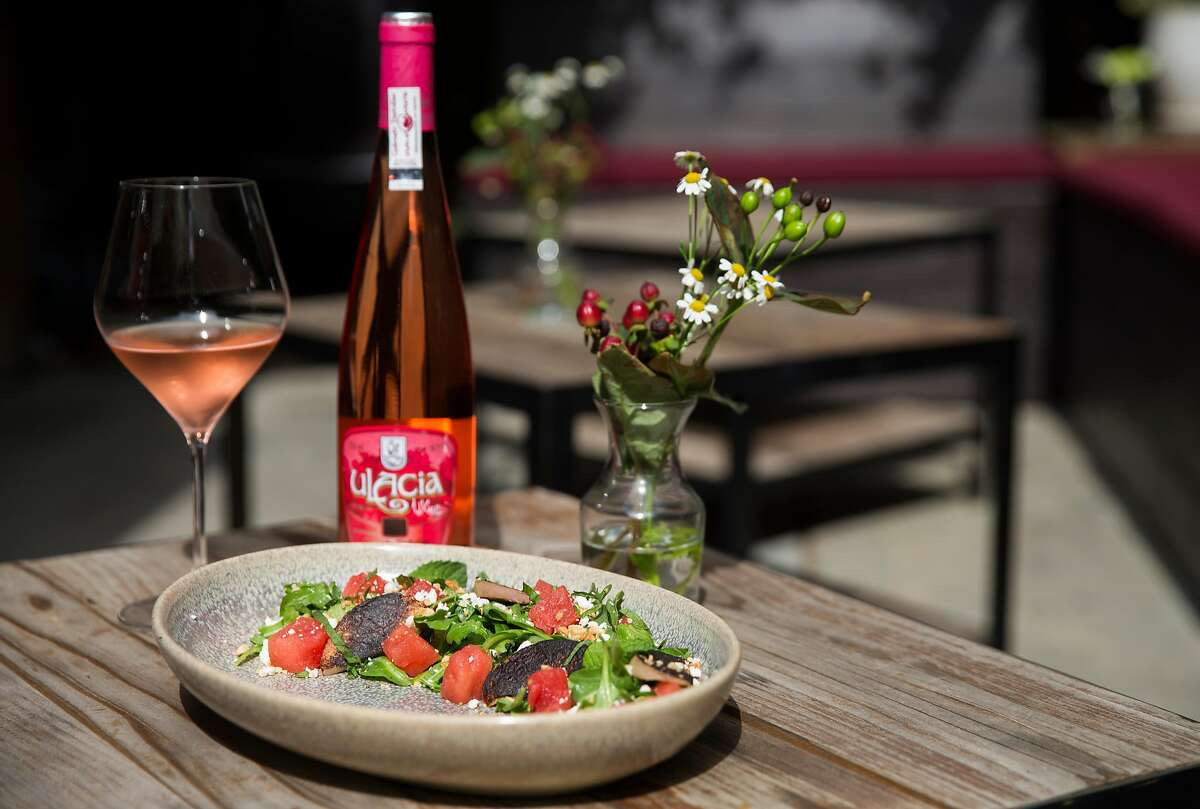 The watermelon salad paired with with Ulacia ros� at Parigo in the Marina district of San Francisco, Calif. Thursday, July 19, 2018.